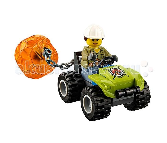 Конструктор Lego Город Вездеход исследователей вулкановГород Вездеход исследователей вулкановLego City Город Вездеход Исследователи Вулканов собирается из 324 деталей и включает 3 минифигурки.  Отважные исследователи отправляются к вулкану, чтобы найти там таинственный кристалл, который находится внутри большой каменной глыбы - разбить ее не так-то просто! С этой задачей справится отбойный молоток, размещенный на вездеходе. К нему доставить камень поможет машина с цепью. Разбей камень и извлеки кристалл, затем доставь его в лабораторию, чтобы провести необходимые исследования! Вездеход оснащен мощной гусеницей, которая поможет проехать по бездорожью и доставить команду к вулкану.  В наборе: 3 минифигурки исследователей Вездеход с подвижной гусеницей и приборами Машинка цепью Вулканический камень в виде прозрачного шара с кристаллом внутри Аксессуары (Лопата, кирка и др.)<br>