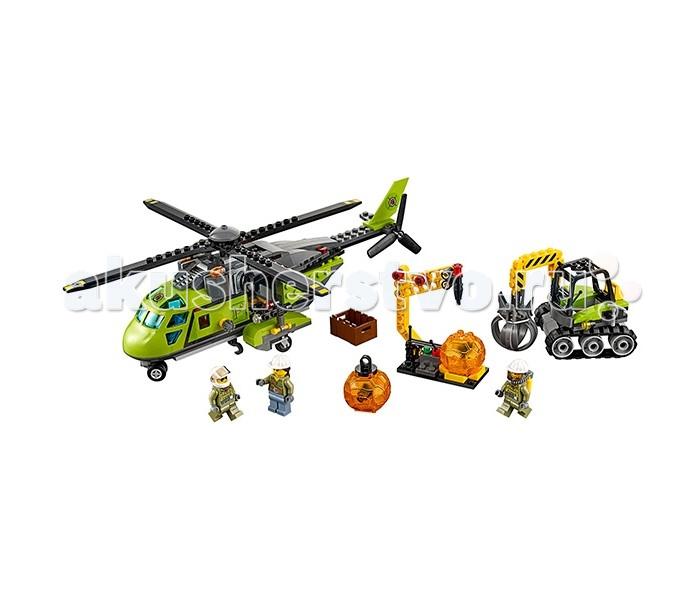 Конструктор Lego Город Грузовой вертолёт исследователей вулкановГород Грузовой вертолёт исследователей вулкановLego City Город Грузовой вертолёт Исследователи Вулканов собирается из 330 деталей, включены 3 минифигурки.  Мощный вертолет поможет отважной команде исследователей подняться на новую высоту и добраться до самых труднодоступных мест у подножия вулкана! Собирай вулканические камни - чем их больше, тем больше ты добудешь таинственных кристаллов, спрятанных внутри них! Экскаватор поможет поднять и перенести массивные камни, а дополнительное оборудование поможет исследователям в его транспортировке и исследовании.  В наборе: 3 минифигурки исследователей 2 вулканических камня в виде прозрачных шаров с кристаллами внутри Вертолет с вращающимися лопастями Экскаватор Оборудование Аксессуары (ящик, молоток и др.)<br>