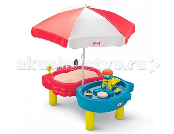Little Tikes Стол-песочница с зонтомСтол-песочница с зонтомСтол-песочница с зонтом  Стол прекрасно подходит для игры на воздухе в весенне-летний период, большой зонт надежно защитит малыша от палящего солнца в жаркие летние дни.   Стол состоит из двух игровых зон: 1-я - предназначена для воды, для более увлекательной игры к ней прилагается водная мельница, 2 лодочки, мост. 2-я - предназначена для песка, вмещает до 23 кг, к ней прилагается совок и ситечко.   В комплект входят 2 крышки, которые надежно защитят стол от дождя, пыли, домашних животных   При изготовлении стола применяется метод центробежного литья, что позволяет сделать его ударопрочным и устойчивым к перепадам температур.  Выдерживает температуру до -18С. Размеры стола в собранном виде: 120 х 83 х 48 см (длина, ширина, высота)<br>