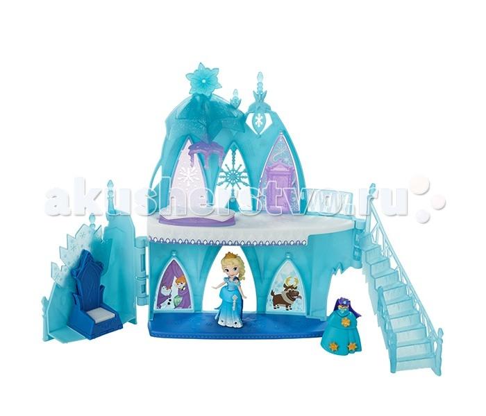 Hasbro Disney Princess набор для маленьких кукол Холодное сердцеDisney Princess набор для маленьких кукол Холодное сердцеDisney Princess набор для маленьких кукол Холодное сердце.  В набор входит кукла, одна из главных героинь мультфильма - красавица Эльза, королева Эренделла. В комплекте - двухэтажный замок с троном, сменный наряд и различные аксессуары. Замок выполнен в нежных сине-голубых тонах, его крыша украшена россыпью блесток - он действительно выглядит, словно ледяной! Ребенок может менять Эльзе плаьтя и украшать их с помощью золотистых аксессуаров по своему вкусу.  Для удобства хранения вы можете задвинуть лестницу и боковую стенку с троном - замок закроется. В таком компактном месте он не займет много места, его будет удобно брать с собой в поездки и путешествия.<br>