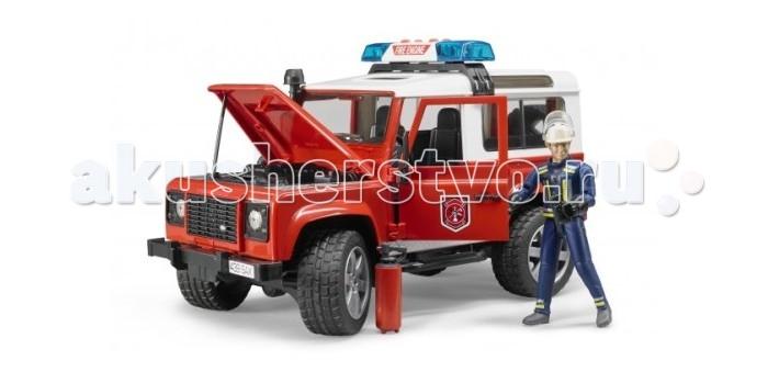 Bruder Внедорожник Land Rover Defender Station Wagon Пожарная с фигуркойВнедорожник Land Rover Defender Station Wagon Пожарная с фигуркойBruder Внедорожник Land Rover Defender Station Wagon Пожарная с фигуркой – первоклассный подарок для детей от 3 до 7 лет.   Эта копия настоящего джипа, выполненная в масштабе 1 к 16, порадует всех юных коллекционеров прототипов машин. Приятной особенностью этого набора является наличие фигурки пожарного, которая идеально помещается в джип. Фигурка сделает игру ребенка реалистичнее и интереснее.  Описание джипа:  свободно открывающиеся капот (фиксируется на рычаге)  3 открывающиеся съёмные двери съёмные задние сидения фаркоп запасное колесо амортизаторы ходовых осей управление передними колёсами с помощью руля  На днище машинки закреплён дополнительный руль-рычаг, который позволяет управлять игрушкой, не держась за неё: просто установите его в специальный разъём через люк на крыше джипа На крыше расположена сирена (работает в 4 звуковых и 1 световом режимах), которую вы так же можете легко снять.   Описание фигурки:  мужчина в костюме пожарного четко прорисованные детали 3-х мерные подвижные руки и ноги (шарнирный механизм) вращающаяся голова.  Пазы на руках могут удерживать руль машинки и аксессуары (в наборе).   Дополнительные аксессуары:  съемный шлем перчатки огнетушитель и рация  Внедорожник Jeep Wrangler Unlimited Rubicon «Пожарная с фигуркой» приведет в восторг и мальчишек, и девочек. Удивите своего ребенка, вручите ему игрушку Bruder. Продукция сертифицирована, экологически безопасна для ребенка, использованные красители не токсичны и гипоаллергенны.<br>