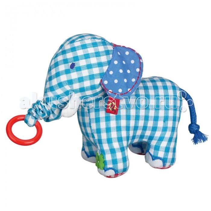 Мягкая игрушка Spiegelburg Слон Baby GluckСлон Baby GluckSpiegelburg Мягкая игрушка Слон Baby Gluck.  Очаровательная игрушка Baby Gluck в виде слоника. Хоботок легко удлиняется при помощи колечка, за которое нужно потянуть.<br>