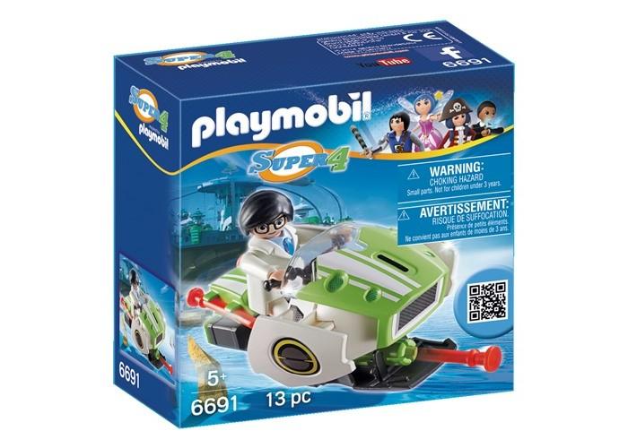 Конструктор Playmobil Супер4: СкайджетСупер4: СкайджетКонструктор Playmobil Супер4: Скайджет - это необычный транспорт, который может выстреливать специальными снарядами, выполненные в виде красных ракет, которые можно прикреплять к сидению. За руль скоростной машины можно посадить фигурку человека, который может быть как агентом, выполняющим секретную миссию, так и злодеем, скрывающимся с места преступления.  В наборе: фигурка  скайджет<br>