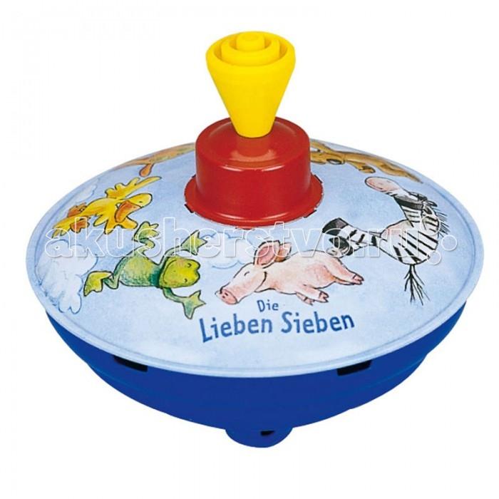Развивающая игрушка Spiegelburg Юла Die Lieben Sieben 8807Юла Die Lieben Sieben 8807Spiegelburg Юла Die Lieben Sieben.  Юла Die Lieben Sieben от немецкой компании Spiegelburg. Перед вами очаровательная детская юла, которая поможет вашему малышу весело провести время. Юла сделана из прочного и долговечного металла. На ней нарисованы веселые зверушки, звездочки и сердечки, которые будут интересно смотреться, когда юла будет крутиться. Чтобы юла начала вертеться, нужно поднять рычажок в верхней части, а затем опустить его до конца.  Играя с юлой, ребенок будет развивать логическое мышление и мелкую моторику рук, распознавание цветов и рисунков, а также тактильные навыки. Кроме того, это чрезвычайно весело и интересно. Если хотите порадовать вашего ребенка, вручите ему Юлу Die Lieben Sieben от немецкой компании Spiegelburg.<br>