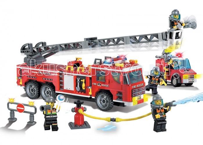 Конструктор Enlighten Brick Fire Rescue 908 (607 элементов)Fire Rescue 908 (607 элементов)Конструктор Enlighten Brick Fire Rescue 908 (607 элементов). Конструктор - отличная игрушка для детей любого возраста. Он учит быть усидчивым и концентрироваться на достижение цели, развивает пространственное и логическое мышление, дает ребенку возможность анализировать и проявить творческий подход.  Конструктор также помогает осваивать социальные роли, ребенок понимает, что, например, у людей и животных должен быть свой дом. После того, как конструктор собран ребенок может примерить на себя любую роль в разных тематиках: бытовых, военных, исторических, фантастических.   Состоит из 607 деталей.<br>