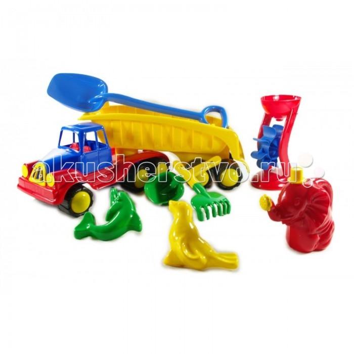Hemar Авто Хемар-тягач с песочным наборомАвто Хемар-тягач с песочным наборомАвто Хемар-тягач с песочным набором обязательно на долго привлечет внимание ребенка.  Прочная машинка изготовлена из экологичного пластика, безопасного для здоровья. Яркие, сочетающиеся между собой цвета машинки и набора для веселых игр в песке способствуют развитию цветовосприятия ребенка, а игры с ними развивают воображение, моторику и координацию.<br>