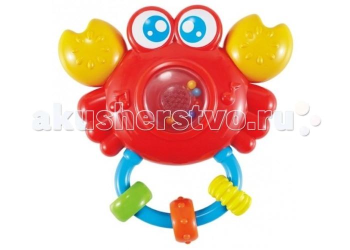 Погремушка Жирафики КрабикКрабикПогремушка Жирафики Крабик представляет собой замечательную развивающую игрушку, предназначенную для малышей от 6 месяцев.   Особенности: Внутри игрушки - маленькие шарики, которые гремят, если встряхнуть погремушку.  Разноцветные колечки можно перебирать пальчиками, тренируя моторику.  Если дотронуться до прозрачной кнопки, то послышится смех, а потом заиграет мелодия. Кнопка будет подсвечиваться. Играя, ребенок развивает слуховое, пространственное и зрительное восприятие, а также тактильные ощущения, учится находить источник звука, сосредотачиваться и следить за движением. Игрушка работает от батареек (в комплекте).<br>