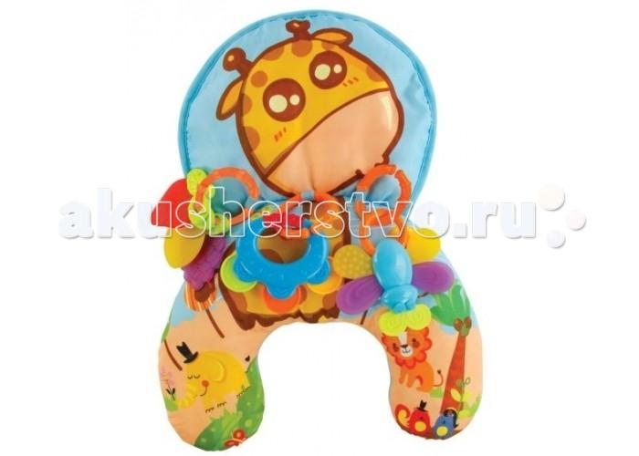Развивающий коврик Жирафики Веселый ЖирафикВеселый ЖирафикИгровой центр Жирафики Веселый Жирафик - это незаменимый помощник для мамы и замечательная игрушка для малыша.  Играть на коврике можно лежа или сидя. Лежать на животике во время бодрствования очень полезно для развития двигательной активности новорожденного.  Особенности: Малыш тренирует мышцы шеи, ведь способность самостоятельно удерживать голову - это первый серьезный навык управления своим телом, которому учится ребенок. Особенности: Когда малышу исполнится полгодика и он научится самостоятельно сидеть, подушку можно будет использовать как мобильный игровой коврик - брать с собой на прогулку и в путешествия. Особенности: Малыш будет забавляться с игрушками, прорезывателями и погремушками.  В комплекте: коврик, Особенности: съемные прорезыватели - 3 шт., Особенности: съемные погремушки - 2 шт.<br>