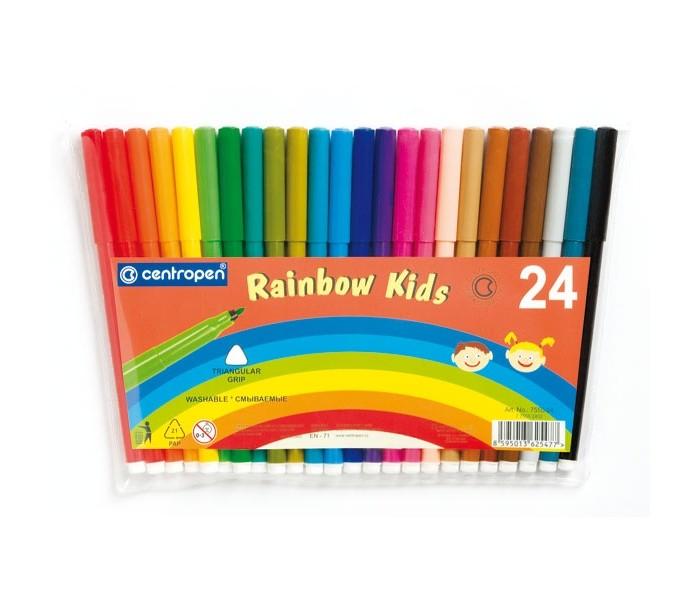 Фломастеры Centropen Набор Rainbow Kids 24 цветаНабор Rainbow Kids 24 цветаФломастеры Centropen Набор Rainbow Kids 24 цвета  Набор из разноцветных фломастеров - прекрасный вариант детского досуга В составе ярких цветных фломастеров на водной основе - чернила на основе пищевых красителей, без запаха  Фломастеры имеют прочный пишущий конец стержня, фибровый наконечник, позволяющий варьировать ширину линии  Фломастеры безопасны для ребенка, легко смываются с рук и отстирываются от одежды Возраст: от 3 лет.<br>