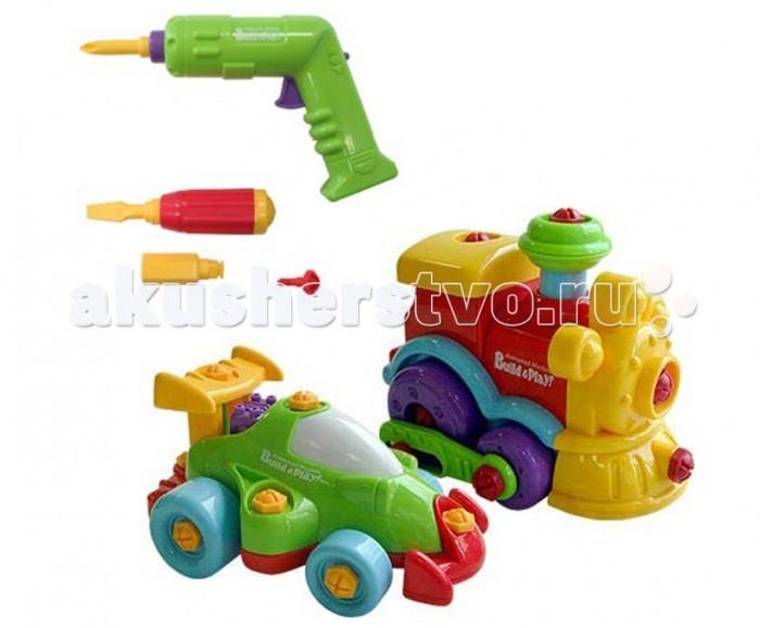 Keenway Набор машина + паровозикНабор машина + паровозикНабор Keenway Машина + паровозик яркие и красочные игрушки. Позволяют разобрать игрушку и посмотреть, из чего она устроена. Теперь у маленького исследователя есть такая возможность. Он сам сможет самостоятельно собрать и разобрать 2 замечательные модели. Растущему малышу всегда интересно, что внутри у куклы, машинки, поэтому с огромным удовольствием и нескрываемым интересом все вокруг разбирает на части. Сборные модели гоночной машины и паровоза в одном наборе, которые направят активность малыша в конструктивное русло. Ребенок при помощи автоматического шуруповерта с реверсом научится работать с пластмассовыми шурупчиками. Они подходят к любой насадке. Для смены направления вращения (раскручивание или вкручивание) нужно нажать переключатель на ручке инструмента. В результате кропотливого труда У гоночной машинки можно заметить работу двигателя (подпрыгивает), у паровоза характерно двигаются колесики и поднимается/опускается труба. Уверенность в своих силах, ощущение полезности своей работы не покинут малыша во время игры.   В комплекте: Гоночная машина Паровоз Дрель Отвертки Насадка на отвертку  Характеристики: Размер упаковки: 48 x 19 x 19 см Материал: пластик Питание: батарейки типа АА 1,5V LR6 (пальчиковые) – 2шт<br>