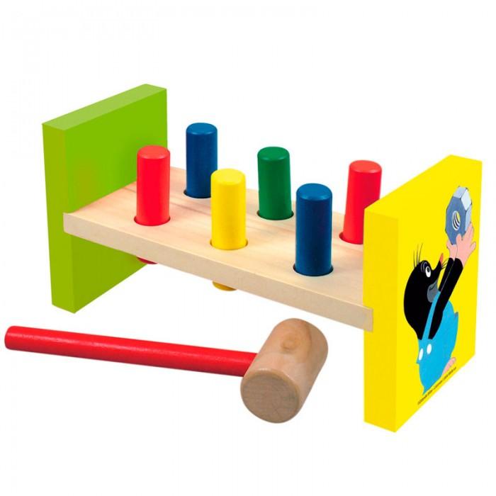 Деревянная игрушка Mertens забивалка Маленький кротзабивалка Маленький кротBino Деревянная забивалка Маленький крот.  Игрушечный деревянный молоточек с 6 разноцветными деревянными колышками, которые можно забивать. Игрушка, которая развивает координацию движений глаз и рук, стимулирует развитие мелкой моторики, а также укрепляет мышцы.<br>