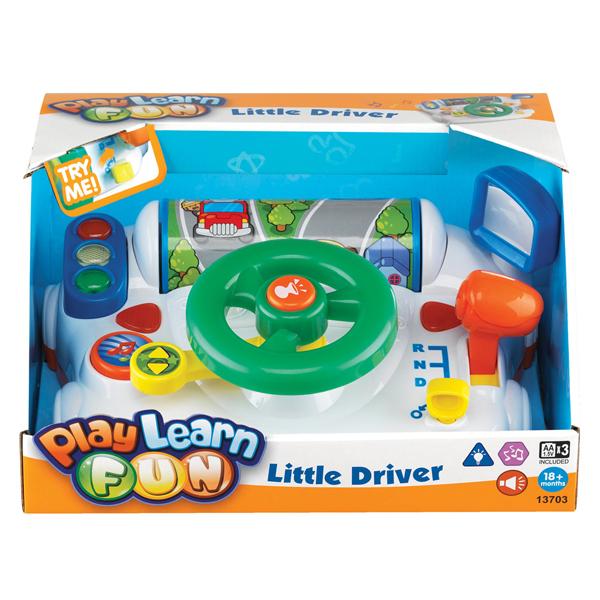 Keenway Электронная игрушка За рулемЭлектронная игрушка За рулемЭлектронная игрушка За рулем представляет собой платформу, на которой расположены замок с ключом зажигания, руль с клаксоном, рычаг коробки передач, рычаг включения поворотников, кнопка для включения музыки, светофор, зеркало бокового вида. Крутя руль, переключая рычаги и нажимая на кнопки, ребенок сможет почувствовать себя настоящим водителем реального автомобиля. При этом игрушка будет издавать различные звуки, которые будут сопровождаться световыми эффектами.   Игрушка включается путем поворота ключа зажигания. После этого начинает мигать светофор: красный, желтый, затем зеленый – юный водитель может начинать движение. Если рычаг поставить в положение N , то ребенок услышит шум работающего двигателя, если же переключить рычаг в положение D, то будет слышен рев мотора, а при включенном положении R малыш услышит звуки, характерные для заднего хода автомобиля.   При вращении руля, табло, расположено впереди, начнет вращаться, имитируя движение по дороге. Ребенок может включить поворотники, при этом раздадутся характерные щелчки и начнут мигать стрелочки (вправо, влево), как на настоящем автомобиле. Ну и какая же поездка без музыки? Нажав кнопку с изображением нотки, включится одна из двух забавных мелодий. Чтобы выключить игрушку, нужно снова повернуть ключ зажигания.  Характеристики: Размер упаковки: 30,48 х 24,77 х 15,24 см Материал: пластик<br>