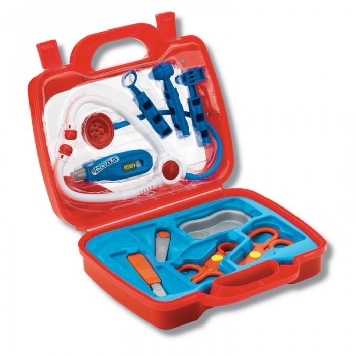 Keenway Набор врача в чемоданеНабор врача в чемоданеНабор врача в чемодане остоит из различных медицинских инструментов. В этот тематический набор входят аксессуары для оказания неотложной медицинской помощи любимым игрушкам. Электронные звуки и световые эффекты добавляют реалистичности. Все инструменты из легкого пластика, с закругленными краями.  В комплекте: Стетоскоп. При нажатии на кнопку раздаётся звук – кашель или биение сердца Чемоданчик Доктора закрывается на защёлку, есть удобная ручка Молоточек невропатолога Инструмент отоларинголога Шприц  Характеристики: Размер чемоданчика: 26,5 х 9 х 24 см Материал: высококачественная пластмасса<br>