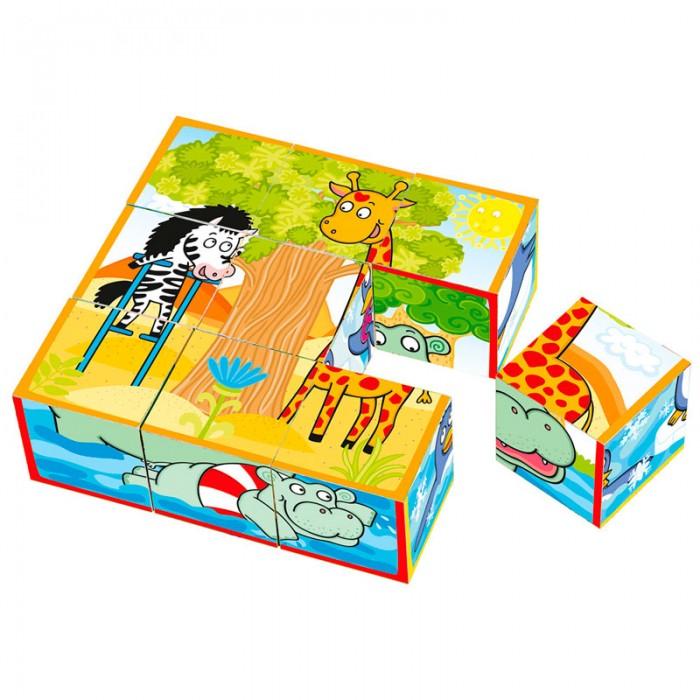 Деревянная игрушка Mertens Кубики весёлые животныеКубики весёлые животныеBino Кубики весёлые животные.  Из 9 кубиков, которые входят в набор можно сложить 6 веселых картинок с изображениями животных. Игра развивает координацию движений, логическое мышление, воображение, активизирует умственную деятельность.<br>
