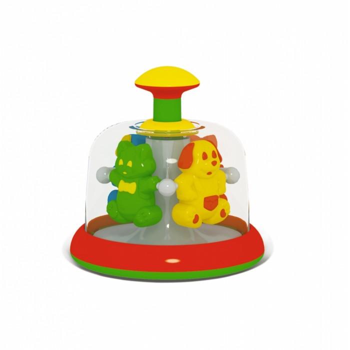 Развивающая игрушка Стеллар Юла-карусель Домашние любимцыЮла-карусель Домашние любимцыЯркая разноцветная юла Домашние любимцы увлечет малыша своим стремительным кружением.   С ней может играть даже очень маленький ребенок - кнопка достаточно большая, чтобы он смог нажать ее самостоятельно.   Под прозрачным колпаком юлы водят хоровод веселые зверюшки - кошки и собаки. Нажмите на кнопку - и танец начнется!  Игрушка развивает координацию движений и зрительное восприятие.<br>