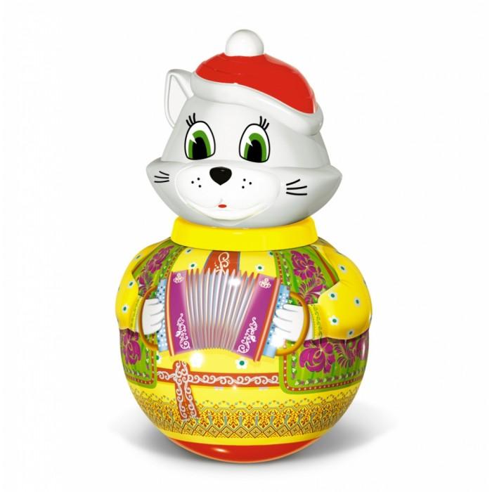 Развивающая игрушка Стеллар Неваляшка большая Кот БарсикНеваляшка большая Кот БарсикКот «Барсик» - неваляшка в новом образе. Он обязательно полюбится малышам, т.к. котята всегда привлекают и завораживают детей.   Ребенку понравится «оживлять» кота своими прикосновениями, от которых он равномерно раскачивается и издает красивую мелодию. А также «разговаривать» с ним в ответ, ведь подражание животным – это одни из первых слов, доступные малышу.  С помощью неваляшки можно успокоить плачущего ребенка, привлечь внимание непоседы, побудить малыша к игре.  Развивает сенсорную сферу, координацию движений. Знакомит со свойствами движущегося предмета, равновесием. Формирует эмоциональную отзывчивость и закладывает основы для сюжетной игры.  Высота игрушки 28 см.<br>