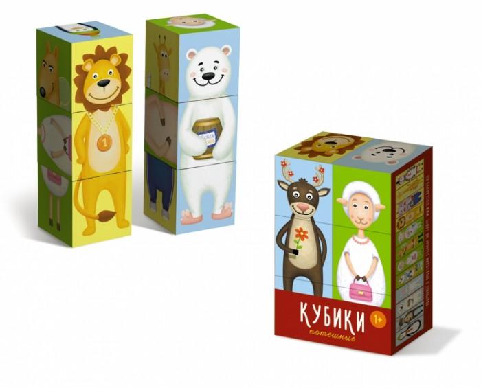 Развивающая игрушка Стеллар Кубики Потешные 6 шт.Кубики Потешные 6 шт.Кубики с картинками – простая, но многофункциональная игрушка, которую специалисты рекомендуют как обязательную для развития малышей. С их помощью дети учатся узнавать целый образ в деталях, видеть и находить недостающие части картинки.   А с «Потешными» кубиками делать это будет намного веселее. Пытаясь собрать изображение животного можно нечаянно создать совершенно новый вид. Например, «МедведеЛьва» или даже «ЖирафоОвцеЛьва». Каждая допущенная ошибка в игре превращается в шутку, неудачи не травмируют ребенка.  Развивает пространственное мышление, наблюдательность, мелкую моторику и речь, чувство юмора и фантазию. Закладывает навыки конструирования.<br>
