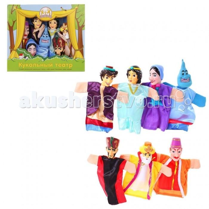 Жирафики Кукольный Театр Аладдин (7 кукол)Кукольный Театр Аладдин (7 кукол)Жирафики Кукольный Театр Аладдин (7 кукол). Кукольный театр как и раньше сейчас достаточно востребован. И по популярности не уступает ни цирковым, ни театральным представлениям. Детки с удовольствием смотрят кукольные постановки, кричат, когда герой в опасности, подсказывают куда бежать или помогают добрым персонажам решить трудные задачки.  Можно придумать свою историю и развернуть интересную захватывающую игру. В процессе игры у ребенка развивается мелкая моторика рук, фантазия и творческие способности.  Развивает: мелкую моторику фантазию и творческие способности зрительное и слуховое восприятие  Средняя высотка куклы: 24 см.  В комплекте: джин, Аладдин, принцесса Будур, султан, злой волшебник Магриб, мать Аладдина, визирь, бедная лачуга, дворец, сценарий.<br>