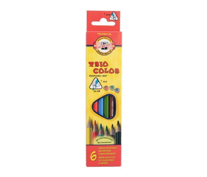 Koh-i-Noor Набор цветных карандашей Triocolor 6 цветовНабор цветных карандашей Triocolor 6 цветовKoh-i-Noor Набор цветных карандашей Triocolor 6 цветов  6 цветов  натуральное дерево трехгранный корпус<br>