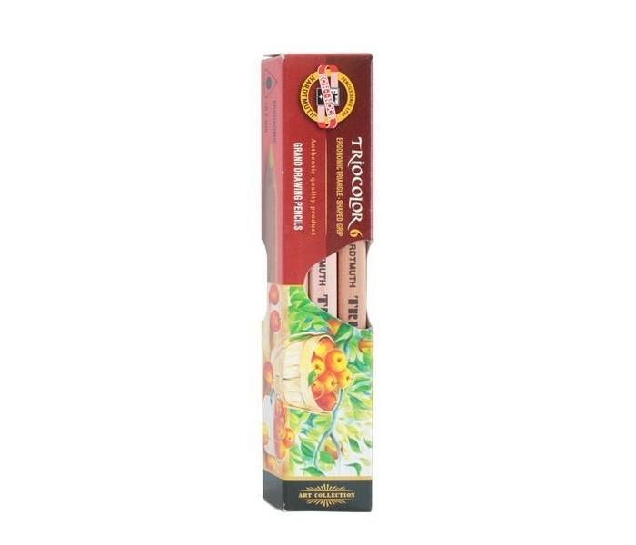 Koh-i-Noor Набор цветных карандашей художественных Triocolor 6 цветовНабор цветных карандашей художественных Triocolor 6 цветовKoh-i-Noor Набор цветных карандашей художественных Triocolor 6 цветов   Цветные художественные карандаши Triocolor непременно, понравятся вашему юному художнику. Набор включает в себя 6 ярких насыщенных цветных карандашей, которые идеально подходят для малышей. Эргономичный трехгранный утолщенный корпус изготовлен из натуральной неокрашенной древесины. Карандаши имеют прочный неломающийся грифель, не требующий сильного нажатия и легко затачиваются. Порадуйте своего ребенка таким восхитительным подарком!<br>