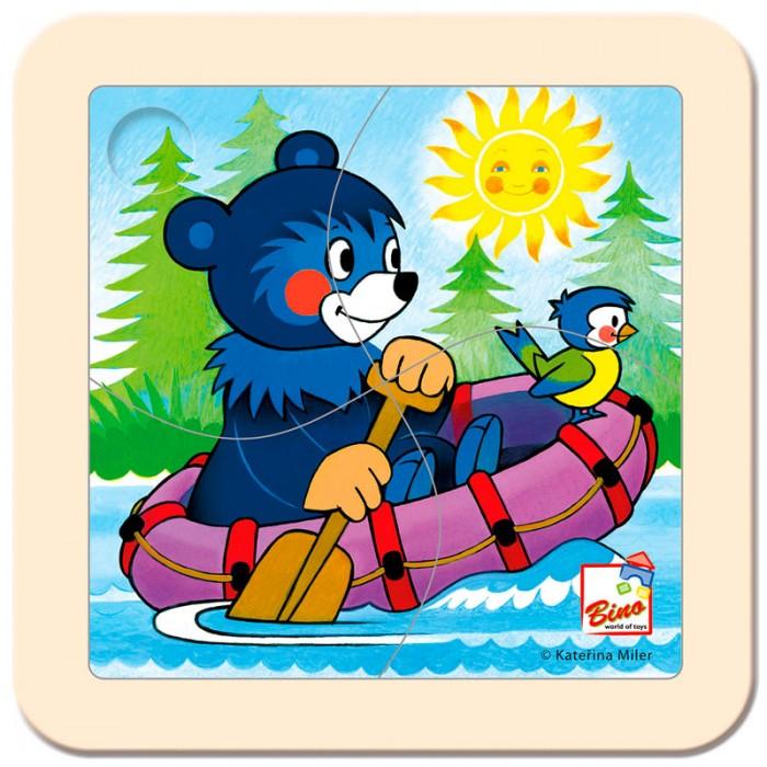 Mertens Пазл Медвежонок на лодкеПазл Медвежонок на лодкеBino Пазл Медвежонок на лодке.  Этот яркий цветной пазл создан специально для самых маленьких. Он состоит всего из 4 частей. Игра способствует развитию логического мышления, произвольного внимания, учит различать предметы по цвету, форме и размеру.<br>