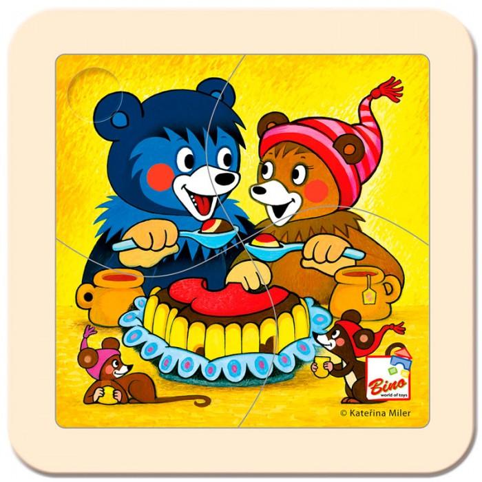 Mertens Пазл Медвежонок с тортомПазл Медвежонок с тортомBino Пазл Медвежонок с тортом.  Этот яркий цветной пазл создан специально для самых маленьких. Он состоит всего из 4 частей. Игра способствует развитию логического мышления, произвольного внимания, учит различать предметы по цвету, форме и размеру.<br>