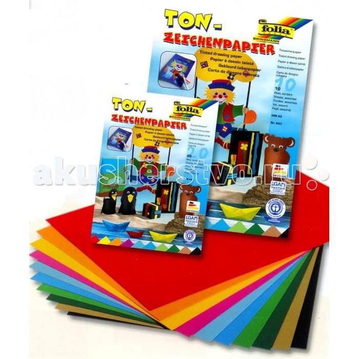 Folia Набор цветной бумаги 20 листовНабор цветной бумаги 20 листовНабор цветной двусторонней бумаги Folia позволит создавать всевозможные аппликации и поделки. В набор входит бумага А4, 10 цв., 20 листов, 130 г/м2: желтого, оранжевого, красного, розового, голубого, салатового, зеленого, синего, коричневого и черного цветов.  Создание поделок из цветной бумаги позволяет ребенку развивать творческие способности, кроме того, это увлекательный досуг.  Folia - немецкий производитель товаров для творчества: бумаги для популярных творческих техник - скрапбукинга, квиллинга, оригами, декорирования, а также широкого ассортимента наборов для творчества.<br>