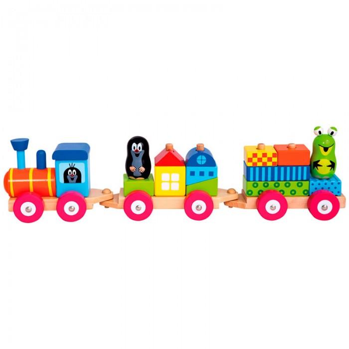 Деревянная игрушка Mertens Паровоз с домиками Маленький крот