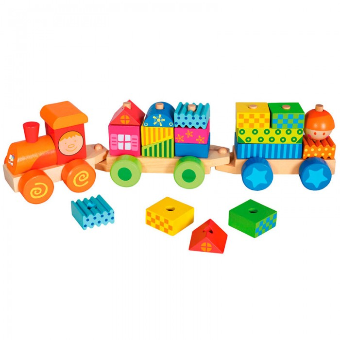 Деревянная игрушка Mertens Паровозик с домиками