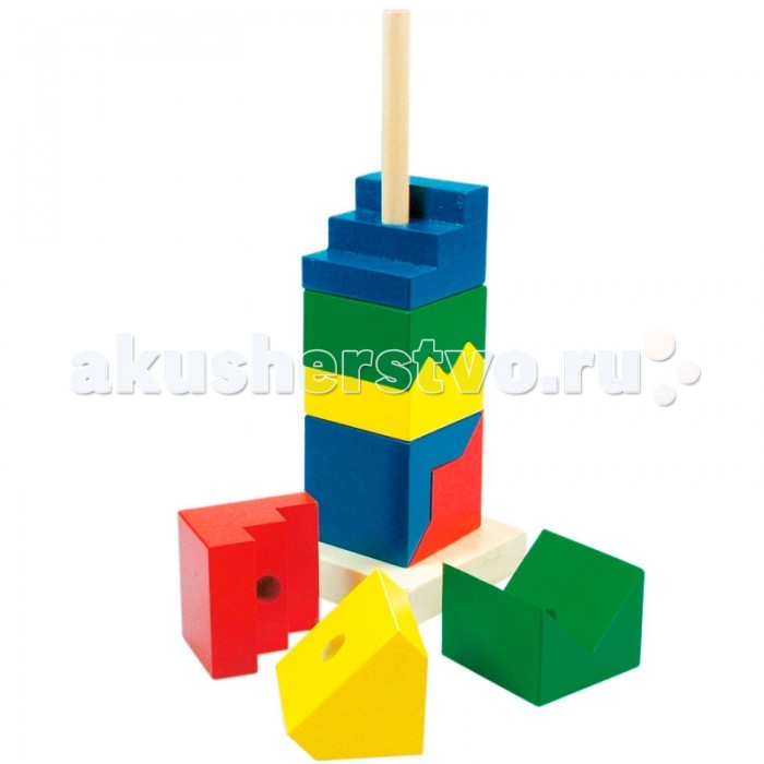 Деревянная игрушка Mertens Пирамида Цветная башняПирамида Цветная башняBino Пирамида Цветная башня.  Пирамида-башня состоит из восьми цветных деталей причудливой формы, которые при правильной комбинации образовывают 4 куба с размерами сторон 6 см. Детали насаживаются на стержень, закрепленный в центре деревянного основания пирамидки.<br>