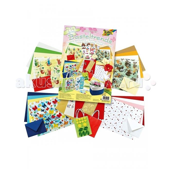 Folia Набор для детского творчества КреативНабор для детского творчества КреативС помощью этого набора можно сделать своими руками поздравительную открытку или украсить подарочную сумку.   Включает 114 предметов: 4 листа картона с различными мотивами, ассорти (размер 250х350 мм), 3 листа прозрачной бумаги с мотивами (размер 250х350 мм), 4 листа цветного картона, ассорти (размер 250х350 мм), 4 листа цветной бумаги, ассорти (размер 250х350 мм), 4 листа двухстороннего волнистого картона, ассорти (размер 250х350 мм), 3 листа тисненного картона, ассорти (размер 240х340 мм), 3 листа с 3D мотивами, ассорти, 1 лист с самоклеящимися подушечками 400 штук (размер 5 х 5 мм, толщина 1 мм), 1 лист с рельефными наклейками, золото, бабочки, 20 штук блестящих наклеек из пористой резины, 60 штук камешков для украшения, ассорти, 2 бумажные сумки, ассорти, 4 конверта, ассорти (размер 110х155 мм), 1 ножницы.  Folia - немецкий производитель товаров для творчества: бумаги для популярных творческих техник - скрапбукинга, квиллинга, оригами, декорирования, а также широкого ассортимента наборов для творчества.<br>