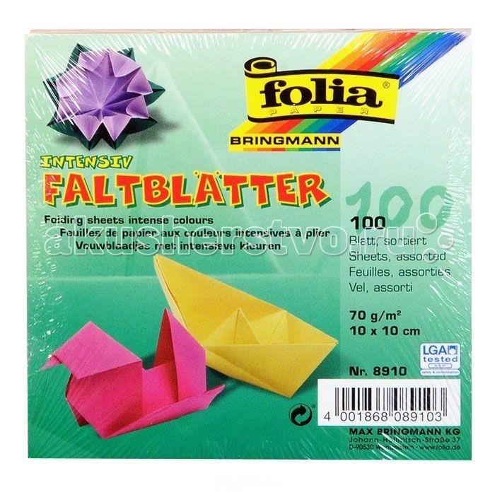 Folia Бумага для оригами 100 листовБумага для оригами 100 листовНабор специальной цветной бумаги для оригами содержит 100 листов разного цвета, которые помогут вам и вашему ребенку сделать яркие и разнообразные фигурки.   В набор входит бумага десяти цветов: желтого, оранжевого, розового, красного, фиолетового, голубого, синего, салатового, темно-зеленого и коричневого. Размер листа: 10 см х 10 см.   Folia - немецкий производитель товаров для творчества: бумаги для популярных творческих техник - скрапбукинга, квиллинга, оригами, декорирования, а также широкого ассортимента наборов для творчества.<br>