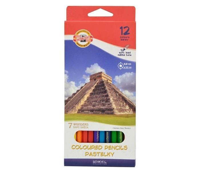 Koh-i-Noor Набор цветных карандашей 7 чудес света 12 цветовНабор цветных карандашей 7 чудес света 12 цветовKoh-i-Noor Набор цветных карандашей 7 чудес света 12 цветов  Цветные карандаши 7 чудес света непременно, понравятся вашему юному художнику.  Набор включает в себя 12 ярких насыщенных цветных карандашей, которые идеально подходят для малышей.  Шестигранный корпус изготовлен из натуральной древесины.  Карандаши имеют прочный неломающийся грифель, не требующий сильного нажатия и легко затачиваются.  Порадуйте своего ребенка таким восхитительным подарком!<br>