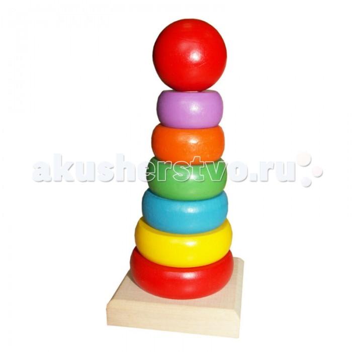 Деревянная игрушка QiQu Wooden Toy Factory ПирамидкаПирамидкаПирамидка  Деревянная пирамидка Радуга, 7 деталей.   Размер: 155*80*80 мм  Способствует развитию фантазии, мышления, учит детей усидчивости.   Изготовлена из экологически-чистых материалов и предназначена для малышей и более взрослых детей.<br>