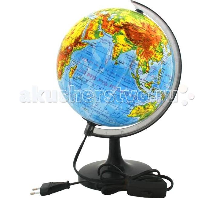 Rotondo Глобус физический с подсветкой 20 смГлобус физический с подсветкой 20 смRotondo Глобус физический с подсветкой, 20 см.  Глобус является уменьшенной и практически не искаженной моделью Земли и предназначен для использования в качестве наглядного картографического пособия, а также для украшения интерьера квартир, кабинетов и офисов.   Красочность, повышенная наглядность визуального восприятия взаимосвязей, отображенных на глобусе объектов и явлений, в сочетании с простотой выполнения по нему различных измерений делают глобус доступным широкому кругу потребителей для получения разнообразной познавательной, научной и справочной информации о Земле.<br>