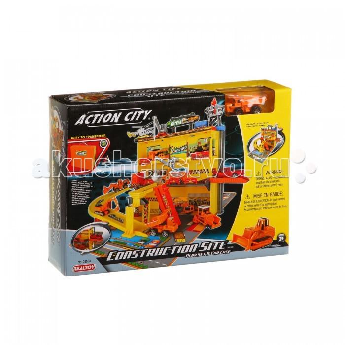 RealToy Игровой набор Стройка 28553Игровой набор Стройка 28553RealToy Игровой набор Стройка 28553. Если ваш ребенок мечтает стать строителем, вручите ему возможность уже сейчас попробовать свои силы. В набор входит все необходимое: дорожные развязки и различная спецтехника.   Все элементы изготовлены из пластика, имеют подвижные части. С набором можно использовать любые машинки, подходящие по размеру.<br>