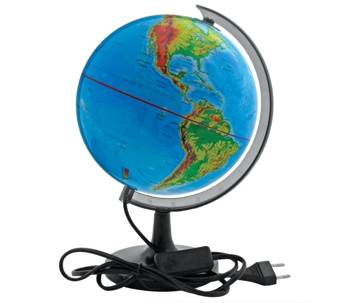 Rotondo Глобус физический с подсветкой 32 смГлобус физический с подсветкой 32 смRotondo Глобус физический с подсветкой, 32 см.  Глобус является уменьшенной и практически не искаженной моделью Земли и предназначен для использования в качестве наглядного картографического пособия, а также для украшения интерьера квартир, кабинетов и офисов.   Красочность, повышенная наглядность визуального восприятия взаимосвязей, отображенных на глобусе объектов и явлений, в сочетании с простотой выполнения по нему различных измерений делают глобус доступным широкому кругу потребителей для получения разнообразной познавательной, научной и справочной информации о Земле.<br>