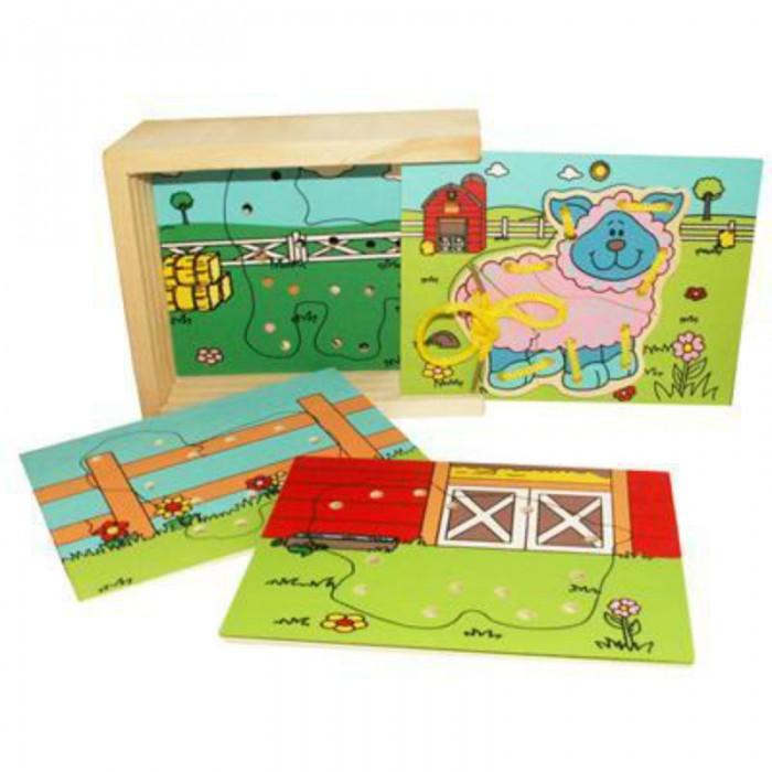 Деревянная игрушка QiQu Wooden Toy Factory Шнуровка ФермаШнуровка ФермаШнуровка Машинки - это набор деталей с изображениями обитателей фермы упакован в удобную деревянную коробку с выдвигающейся крышкой. В комплекте 4 шнуровки.  Яркая деревянная игрушка для малышей. Способствует развитию фантазии, мышления, учит детей усидчивости.   Изготовлена из экологически-чистых материалов и предназначена для малышей и более взрослых детей.<br>