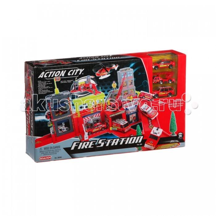 RealToy Игровой набор Пожарная станция 3 машины 28365