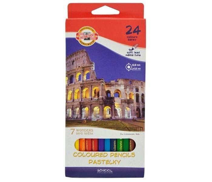 Koh-i-Noor Набор цветных карандашей 7 чудес света 24 цветаНабор цветных карандашей 7 чудес света 24 цветаKoh-i-Noor Набор цветных карандашей 7 чудес света 24 цвета   Цветные карандаши 7 чудес света непременно, понравятся вашему юному художнику.  Набор включает в себя 24 ярких насыщенных цветных карандашей, которые идеально подходят для малышей.  Шестигранный корпус изготовлен из натуральной древесины.  Карандаши имеют прочный неломающийся грифель, не требующий сильного нажатия и легко затачиваются.  Порадуйте своего ребенка таким восхитительным подарком!<br>