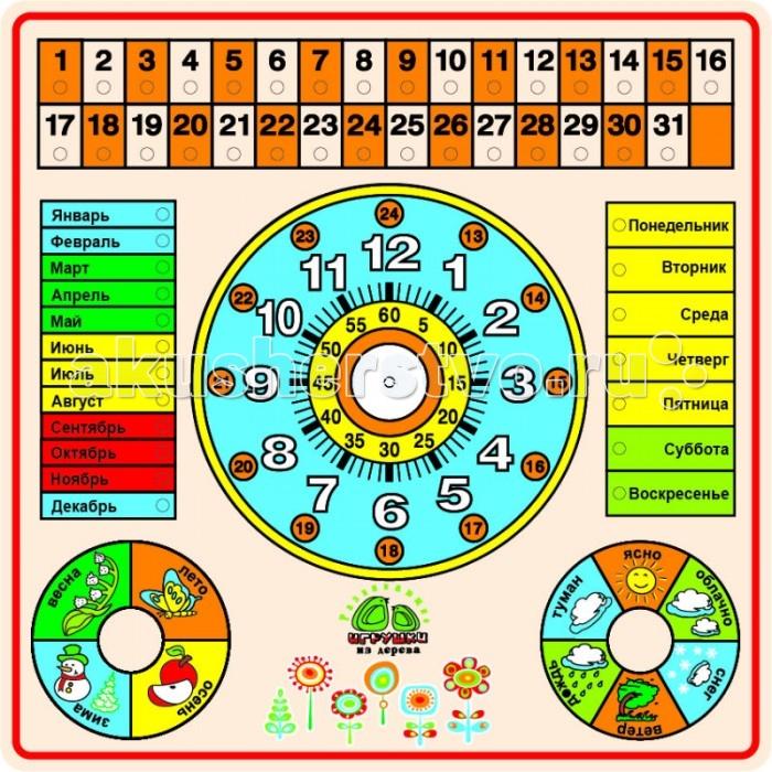 QiQu Wooden Toy Factory Рамка КалендарьРамка КалендарьРамка Календарь  Обучает временам года, числам месяца, дням недели, погодным условиям, времени суток.   Размер: 300*300 мм Способствует развитию фантазии, мышления, учит детей усидчивости.   Изготовлена из экологически-чистых материалов и предназначена для малышей и более взрослых детей.<br>