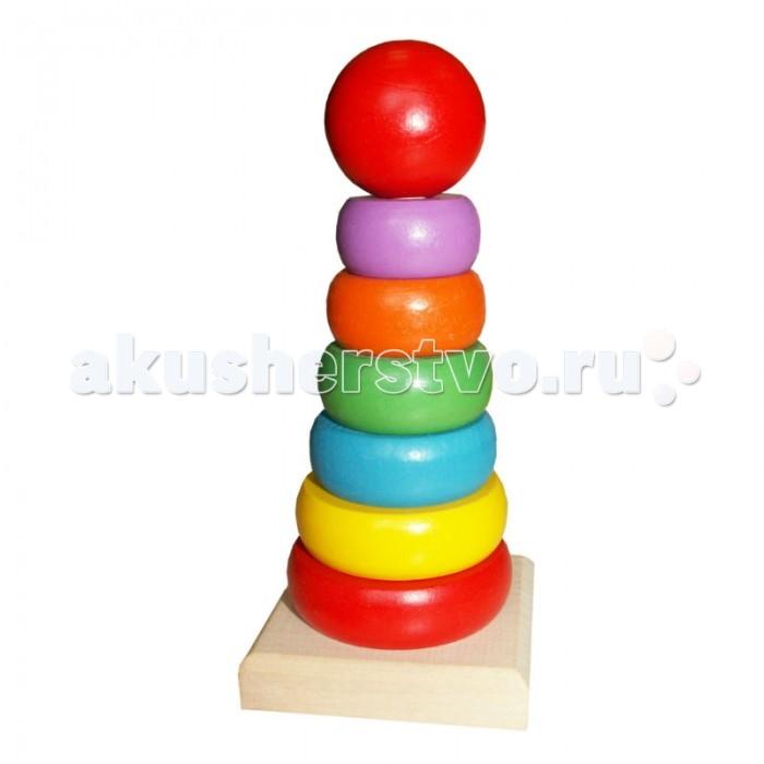 Деревянная игрушка QiQu Wooden Toy Factory Пирамидка РадугаПирамидка РадугаПирамидка Радуга  7 деталей.   Размер: 155*80*80 мм  Способствует развитию фантазии, мышления, учит детей усидчивости.   Изготовлена из экологически-чистых материалов и предназначена для малышей и более взрослых детей.<br>