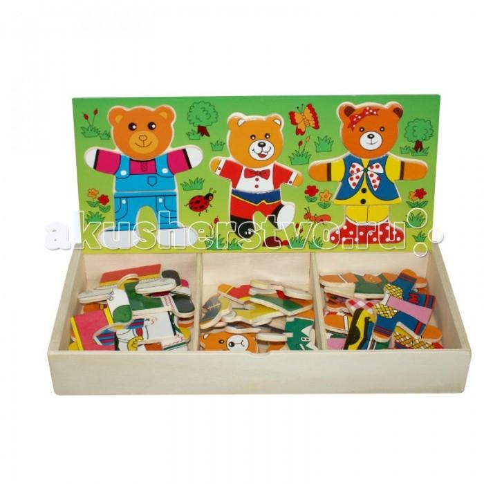 QiQu Wooden Toy Factory Пазл Три медведяПазл Три медведяПазл Три медведя  Чтобы детям был интересен пазл, маме следует сначала показать, как из нескольких кусочков можно собрать одну веселую картинку. Медведи имеют разные детали мордочек, туловищ и ног.<br>