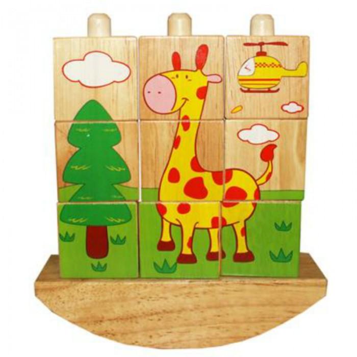 Деревянная игрушка QiQu Wooden Toy Factory Забавные кубикиЗабавные кубикиЗабавные кубики  На качающемся основании расположены три штырька. На них нанизываются Забавные кубики. Из кубиков собираются различные картинки. Варианты картинок на упаковке.  Размер: 200*160*50 мм<br>