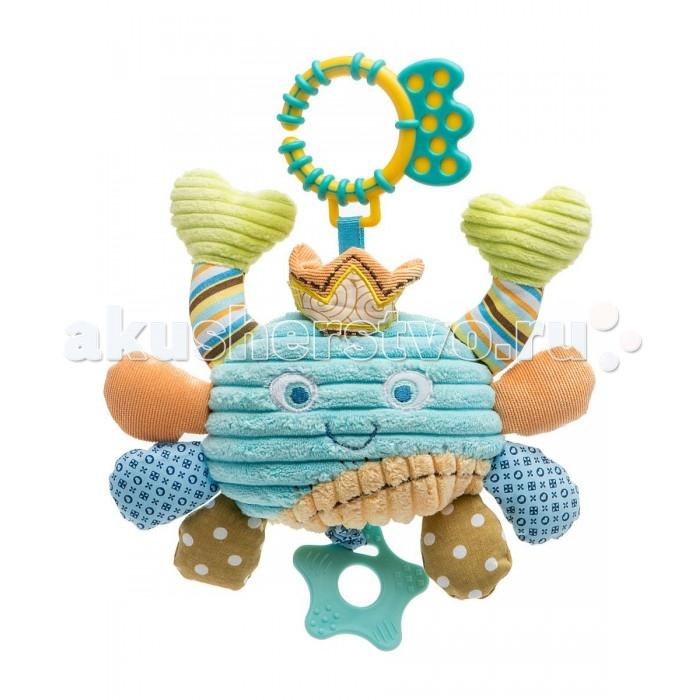 Подвесная игрушка Жирафики Крабик 93868Крабик 93868Подвесная игрушка Жирафики Крабик 93868 со звуком и вибрацией порадует малышей своим внешним видом.   Особенности: Цветовая гамма игрушки спокойная, выполнена в голубых тонах с добавлением оттенков оранжевого и коричневого.  Чтобы исследовать все функции Крабика, необходимо подвесить его за верхнее кольцо, а затем потянуть за нижнюю часть. Игрушка начнет вибрировать и булькать.<br>