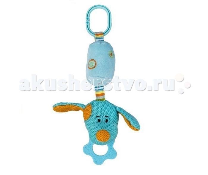 Подвесная игрушка Жирафики Собачка с колокольчикомСобачка с колокольчикомПодвесная игрушка Жирафики Собачка с колокольчиком - это многофункциональная игрушка.  Особенности: Ее можно повесить над кроваткой, чтобы она развлекала малыша: внутри подвески спрятан колокольчик, который заинтересует и отвлечет ребенка, если он начнет капризничать.  Игрушку можно дать малышу в ручки – ощупывая ее, он начнет знакомство с различными формами и текстурами.  А если зачешутся зубки, то рельефное колечко, прикрепленное к собачке, может помочь с этой проблемой. Игрушка-собачка поможет малышу развить слуховые, звуковые и зрительные реакции, а приятная текстура подвески стимулирует хватательные рефлексы.  Длина игрушки - 29 см.<br>
