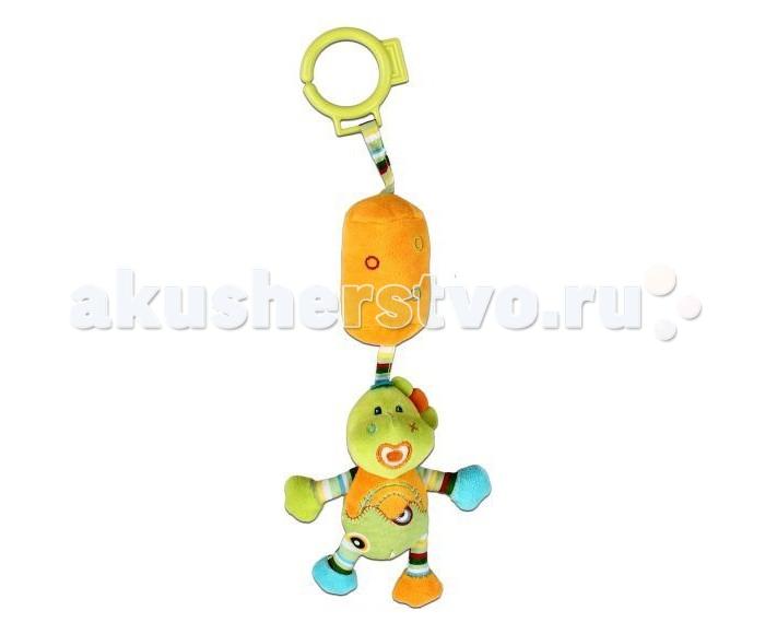 Подвесная игрушка Жирафики Динозаврик с колокольчиком 35 смДинозаврик с колокольчиком 35 смПодвесная игрушка Жирафики Динозаврик с колокольчиком несомненно понравится малышу.   Особенности: Игрушка имеет прочное колечко, за которое она легко подвешивается к бортику кроватки, коляски или к любой другой перекладине.  Стоит потрясти игрушкой и малыш услышит мелодичный звон, ведь внутри Динозаврика прячется звонкий колокольчик.  Игрушка изготовлена из безопасного и приятного на ощупь материала ярких цветов.  Играя с подвеской Динозаврик с колокольчиком, малыш разовьет мелкую моторику ручек, слуховое и цветовое восприятие.<br>