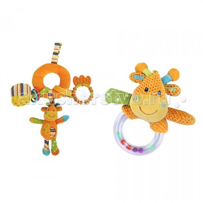 Подвесная игрушка Жирафики Набор подарочный ЖирафикиНабор подарочный ЖирафикиЖирафики Набор подарочный Жирафики представляет собой замечательный комплект с мягкой подвеской и погремушкой.   Особенности: На оранжевом бублике подвески нанизаны 3 игрушки: погремушка, пищалка и фигурный прорезыватель.  У погремушки в виде оранжевого зверька имеется удобная прозрачная ручка с шариками внутри.  Мягкие элементы набора сшиты из фактурной ткани разных цветов.  Набор предназначен для развития у детей слуха, зрения, восприятия цвета, формы, а также тактильных ощущений и хватательного рефлекса.<br>