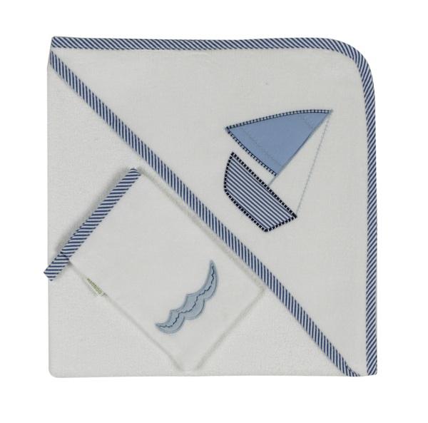 Kidboo Полотенце Blue MarineПолотенце Blue MarineЧудесное полотенце (уголок+варежка)Blue Marine от знаменитой марки Kidboo. Изделие выполнено из мягкого приятного материала и украшено декоративной отделкой и вышивкой. Обязательно пригодится Вам в уходе за малышом.   Размер: 75х75 см.<br>