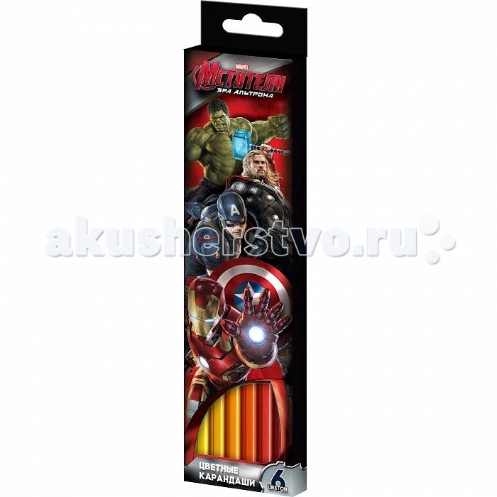 Росмэн Карандаши цветные Marvel Мстители 6 цветов